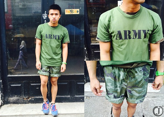 Joamar-John Canosa - Myanmar Shop Top, Thrift Shorts, New Balance Shoes, Swatch Watch - ARMY BOY.