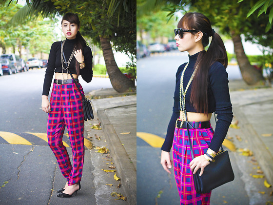 Dominique Marie Tiu - Zara Black Cropped Turtleneck, Forever 21 3 Chained Necklace, River Island Pink Plaid Trousers, Zara Studded Heels, Céline Black Sling Bag, Céline Sunglasses - Baby, I Adore You