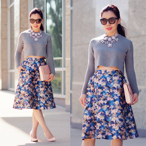 Hallie S. - Cropped Top, Necklace, Floral Skirt, Blush Clutch, Heels - Blush and Blue