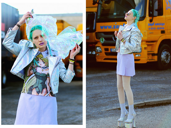 †Norelle Rheingold† - Supershop24hrs Pu Moto Jacket (Hologram), Ebay Manga Anime Shirt, Vintage Skirt (Lilac) - Kiss My Sadness Away.