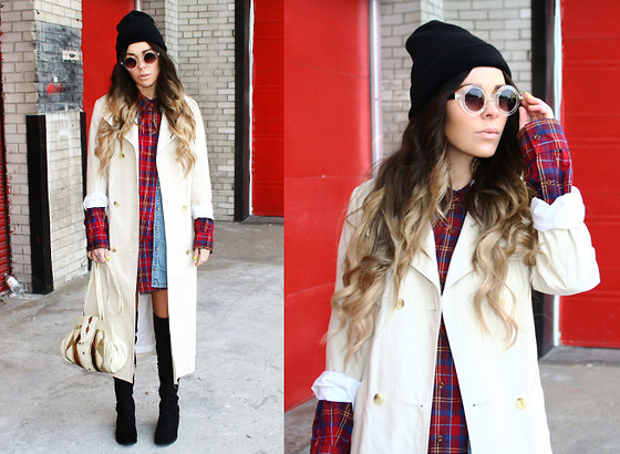 Katia Nikolajew - Urban Outfitters Beanie, Bewolf Clothing Trench Coat, Thrift Purse - Mad for Plaid...