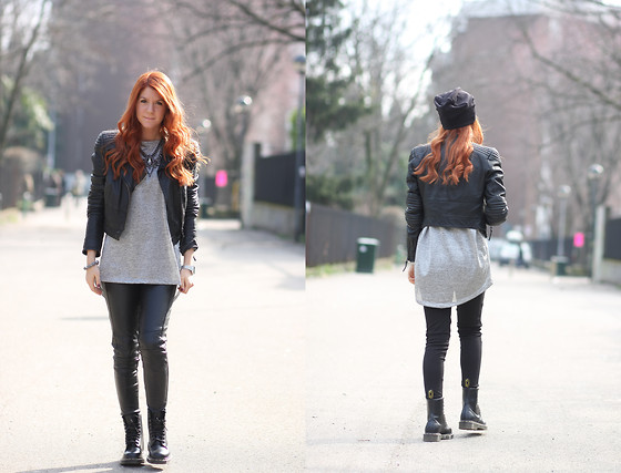 Francesca Carloni - H&M Leather Jacket, Zara Necklace, Trf Beanie, Dr. Martens Boots, H&M T Shirt - With & without beanie -_-'
