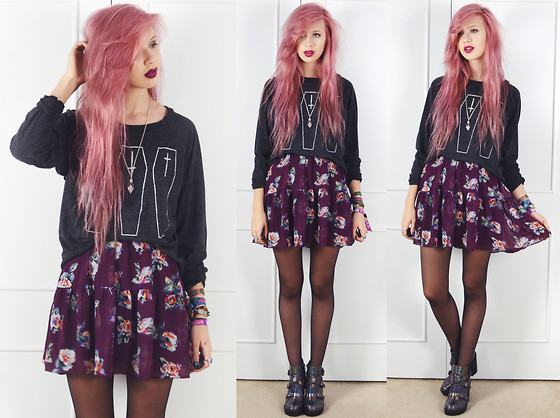 Amy Valentine - Hips + Hair Coffin Jumper, Bank Purple Floral Dress, Ark Holographic Boots - PERSONALITY CULT