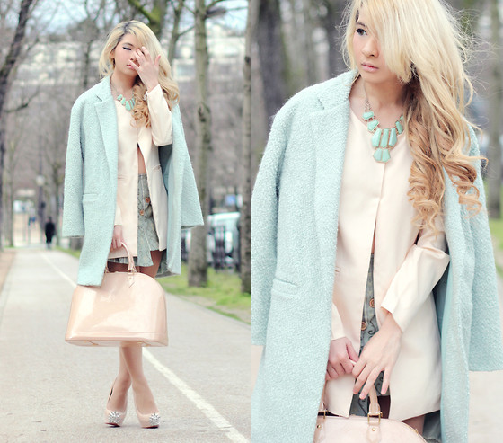 Anastasia Siantar - Light Green Coat, Louis Vuitton Alma Bag, Christian Louboutin Asteroid Spikes - Pastels