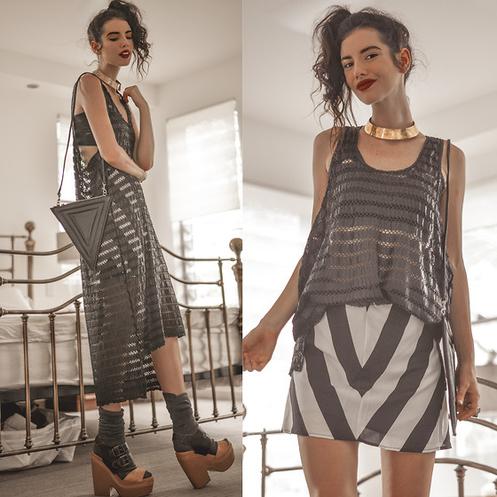 Elle-May Leckenby - Berenika Czarnota Long Weave Black Over Dress, Otto Mode Striped High Skirt, Vagabond Maddin Hammered Brass Collar - Switching it up
