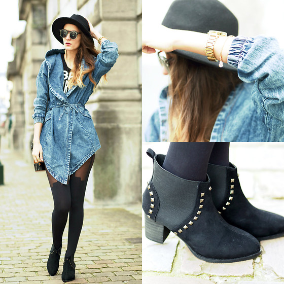 Ruxandra Ioana - Wholesale7 Denim Jacket, Wholesale7, Wholesale7 Ankle Boots - Feel real