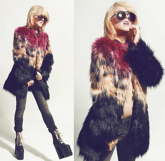 Rachel Lynch - Wildfox Couture Black Aviators, Diesel Dip Dye Jacket, Diesel Skinzee Jeans, Unif Hell Boots - ALL FIRED UP