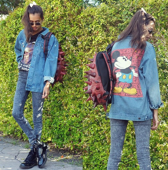 Gizele Oliveira - Forever 21 Vintage Jacket, H&M Pants, H&M Sweater, Dr. Martens Boots, Journeys Backpack - Vintage jacket and red spikes