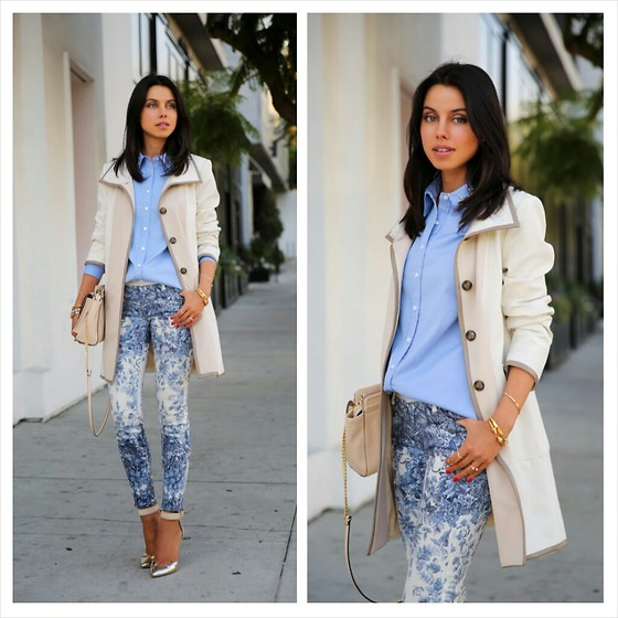 Annabelle Fleur - Ann Taylor Trench Coat, Ann Taylor Shirt, Mother Denim Jeans, Ann Taylor Bag - Pretty Pastels