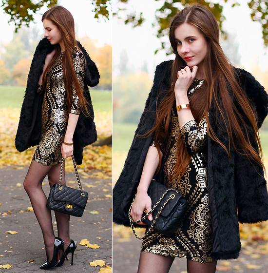 Ariadna Majewska - Tfnc London Baaroue Sequin Black And Gold Dress, Black Fur Coat, Frontrowshop Black Elegant Pointed Toe Pumps, Arafeel Black Quilted Bag - Baroque chic