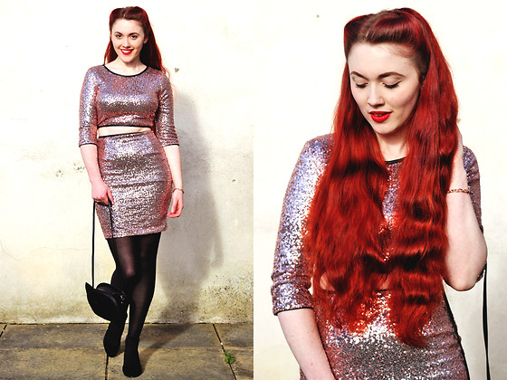 Megan McMinn - Lashes Of London Sequin Set, H&M Cat Bag, Lola And Grace Bracelet - Pink seqins and rose gold.