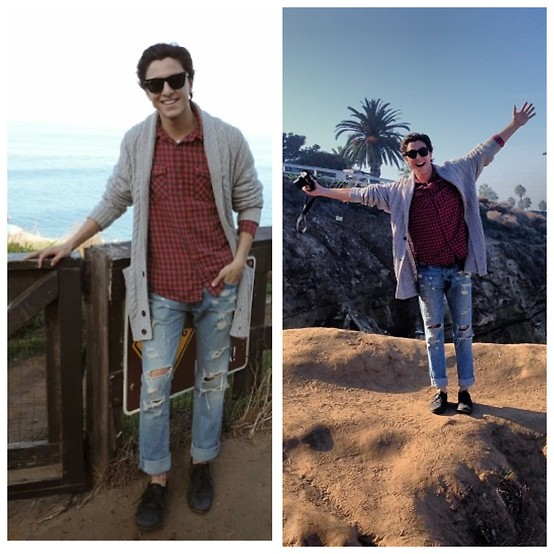 Brandon Beltran - Ray Ban Sunglasses, Forever 21 Button Down, Hollister Jeans, Michael Shannon Shoes, H&M Sweater - La Jolla