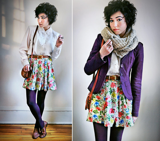 Sophia Mayrhofer - Thrifted Vintage Scalloped Blouse, Thrifted Leather Belt, Fleamarket In Germany Handmade Leather Satchel, Plum Tights, Thrifted Woven Leather Brogues, H&M Oversized Knit Scarf, Second Hand Plum Blazer, Banggood Pleated Floral Chiffon Skirt - Believe you can, and you're halfway there
