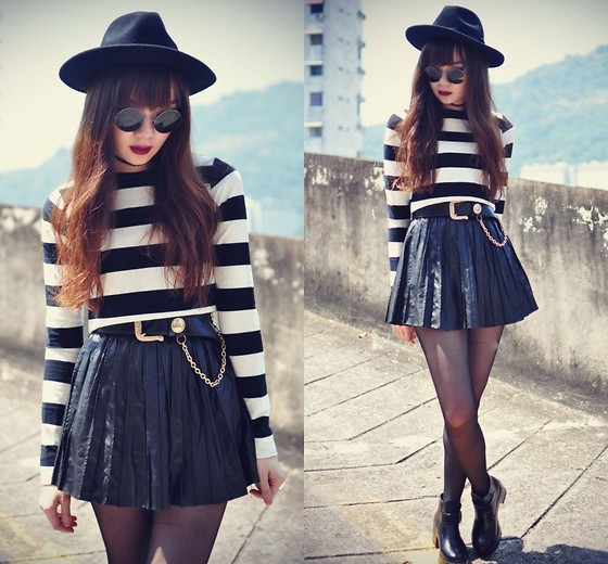 Tess Lively - Choies Stripe Crop Top, Chic Wish Ankle Boots - Have a day