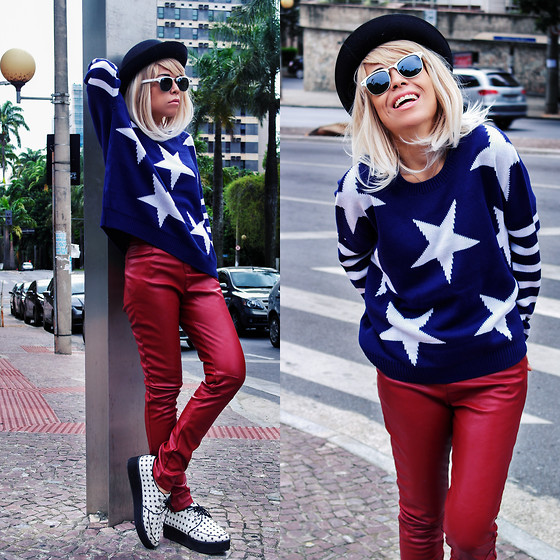 Priscila Diniz - Stars Sweater, Burgundy Leather Pants - You must to be kidding me!