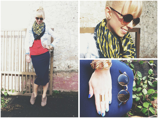 Signe Savant - Charlotte Russe Midi Skirt, Charlotte Russe Denim Jacket, Zerouv Steampunk Specs - I've got the blues...