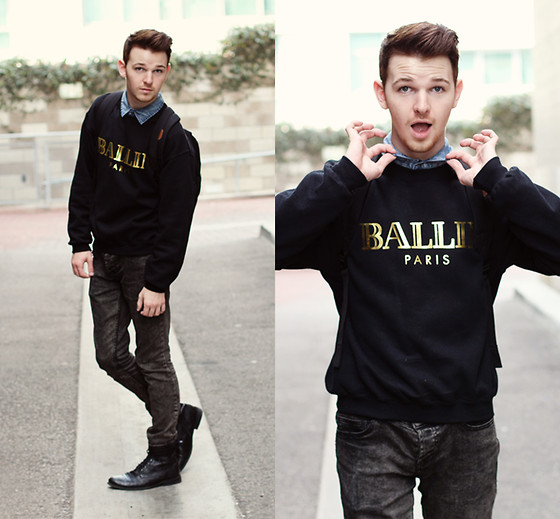 Drew Scott - Chloé Ballin Sweatshirt, Forever 21 Denim Button Up, Rude Distressed Skinnies, Forever 21 Black Boots - Ballin - IM HAVING A GIVEAWAY!