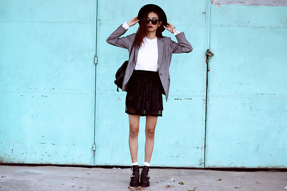 Vu Thien - Letthemstare Blouse, Thrift Store Blazer, Made By Me Velvet Skirt, Windsorsmith Boots - LET THEM STARE