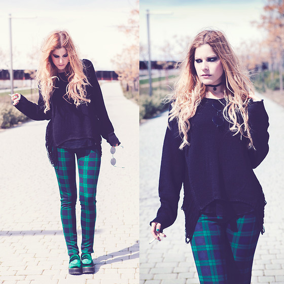 Vita Dinamita - Sheinside Plaid Pant, Sammydress Shoes, H&M Sweater - Green Day