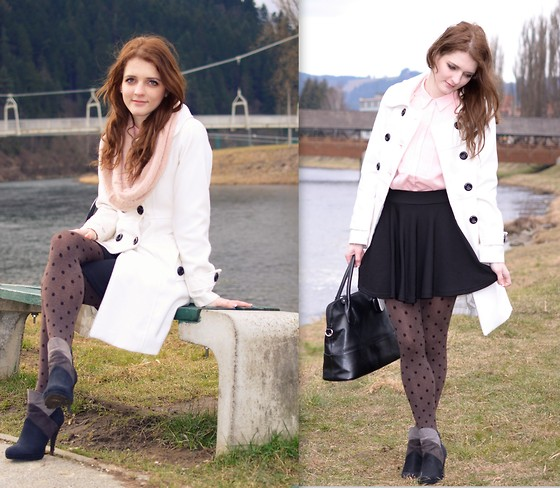 LOVERENCE Andrea Jelenská - Marks And Spencer Coat, Newfrog Skirt, Calzedonia Tights, Humanic Boots - Dots