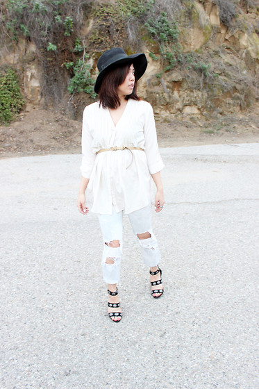 Yuka I. - Vintage Hat, Vintage Blouse, Urban Outfitters Pony Hair Belt, J Brand Jeans, Dolce Vita Heels - Western accent