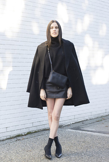 Melissa Araujo - Vintage Turtleneck, Carin Wester Coat, Céline Trio Bag, American Apparel Leather Skirt, American Apparel Socks, Club Monaco Pumps - All Black