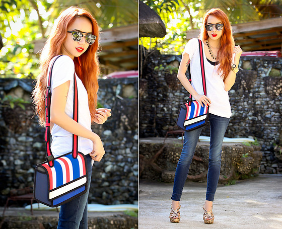 Wicked Ying NEW - Fly Shades Sunnies, Li's Closet Necklace, Jump From Paper 2d Bag, Memorata Heels - Blue Jeans, White Shirt