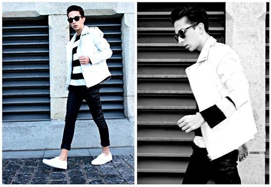 Olive. Wonder - Vans, Zara, Zara, Gucci, Karl Lagerfeld - WHITE LEATHER JACKET