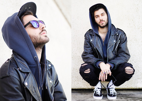 JJ Reyes - H&M Sweater, Vintage Biker Jacket, Zara Jeans, Vans Shoes, Zerouv Sunnies - CLOSE