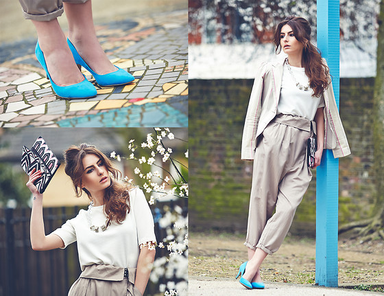 Denisia A. - H&M Court Shoes, Ben Sherman Blazer, Designers Remix Collection By Charlotte Eskildsen Trousers, Atmosphere Graphic Clutch - Spring Suit