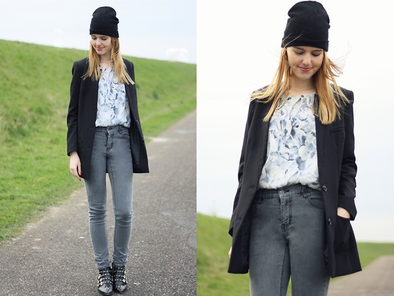 The Fashion Moodboard - Thrift Thrifted Floral Vintage Blouse, H&M Black Boyfriend Blazer, Cheap Monday Vintage High Waisted Jeans, Zara Studded Ankle Boots - Mrs. Beanie