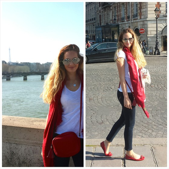 Lucia - Charolina Herrera Ballerinas, Abercrombie Jeans, Louis Vuitton Scarf, Gucci Bag - Sunny Paris