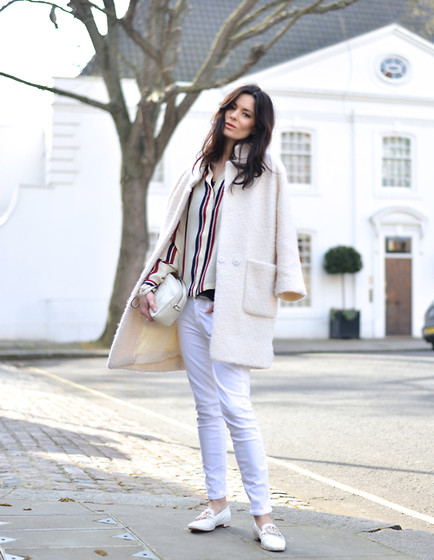 Hedvig ... - Dries Van Noten Blouse, Ganni Coat, J. Crew Jeans, Gucci Bag - White stripes