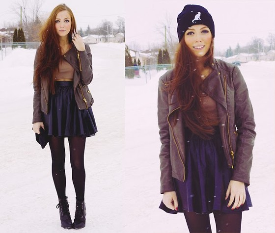 Breanne S. - Club Couture Leather Skirt, Clubcouture Crop Top, Acid Reign Cat Toque - Winter Spell