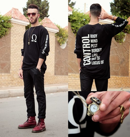 Faissal Yartaa - Long Clothing Sleeve T Shirt, Banggood Vintage Bronze Skull Analog Chain Necklace Pocket Watch, Giantvintage Glasses, Rosewholesale Retro Style Anchor Shape Alloy Finger Ring, Zara Black, Dr. Martens - CONTROL