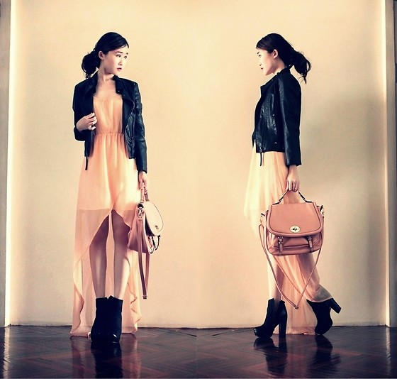 Jasmine L - Leather Jacket, Peach High Low Dress, Vincci Nude Pink Bag, Suede Bootees - PEACH BLACK