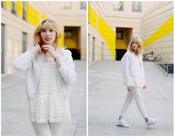 Typhaine - Bershka Jacket, Asos Top, Vintage Jeans, Nike Shoes - All white everything (except my socks)