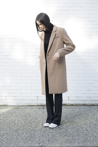 Melissa Araujo - Acne Studios Turtleneck, H&M Coat, Club Monaco Trousers, Converse Sneakers - On The Monochrome Side