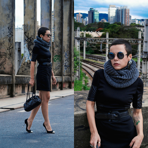 Priscila Diniz - Lbd, Black Rounded Sunglasses, Bag - Keep walking