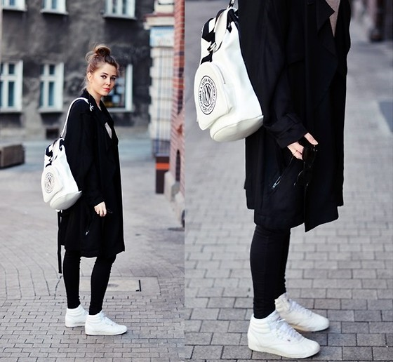 Kasia Szymków - Dkny Backpack, Reebok Shoes, Alexander Wang Coat - Black and white