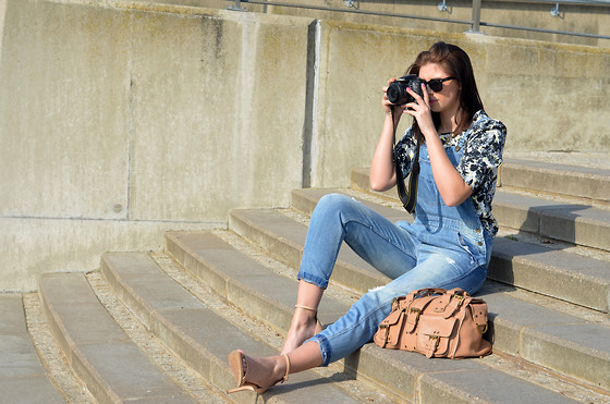 Emma Hill - Zara Dungarees, Miss Selfridge Top, Mulberry Bag, Zara Strappy Sandals - Denim Love
