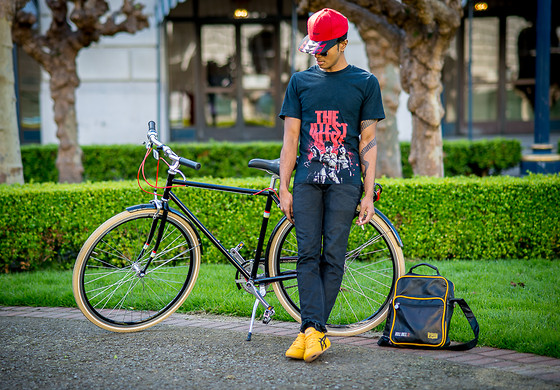 Josh Walter - Bike, Sin City Shirt, Asics Kill Bill Shoes, Asics Kill Bill 2 Bag, Pendleton Hat, Rick Owens Jeans - Twisted Nerve.