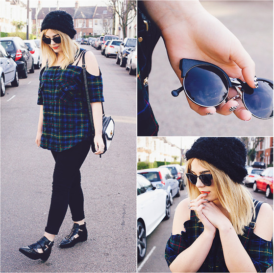 Lily Melrose - Boohoo Plaid Shirt, Vintage Sunglasses - Sunday dressing