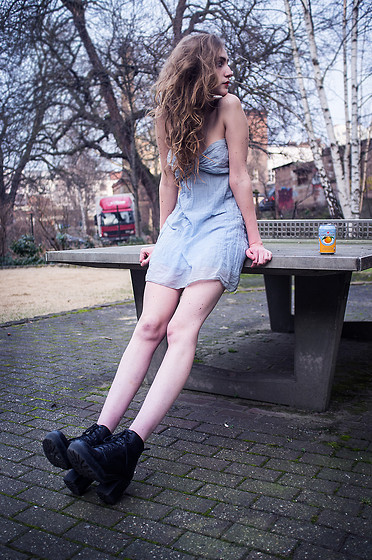 Marie-Louise H. - Vintage Baby Blue Dress, Vagabond Black Boots - Tobeyoung