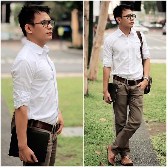 Bibo Bayona - Uniqlo White Button Down, Fossil Leather Belt, Carrera Vintage Eyewear, Louis Vuitton Reporter's Bag, Kickers Leather Shoes, Apple Ipad 2 - Off to Work & Off Work