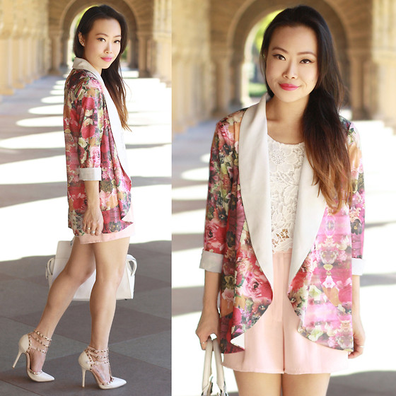 Toshiko S. - Gentle Fawn Jazz Floral Blazer, Red N Bold Lace Cropped Tank, Bloomingdale's Vintage High Waisted Silk Shorts, Street Level White Satchel Handbag, Wild Diva Strappy Studded Heels - Spring Has Sprung