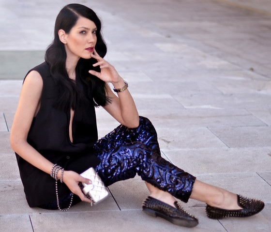 Konstantina Tzagaraki - Sequin Pants, Flats, Chanel Purse, Vest - I shall take the heart, for brains do not make one happy..
