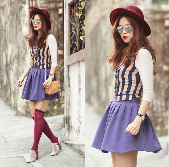 Mayo Wo - Alice's Pig Striped Waist Coat, Romwe Purple Skirt, Miu Mustard Purse, Valentino Pale Pink Boots - Very berry