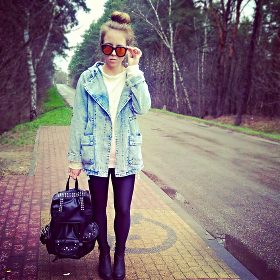 Wioletta Mary Kate - Romwe Coat, Modekungen Backpack, Romwe Sunglasses - Casual 23.03