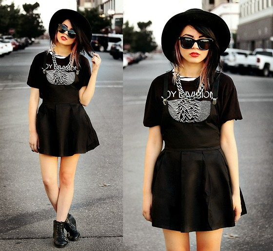 KENDALL SANCHÈZ - Forever 21 Hat, Sunglassess, Chain Necklace, Hot Topic Joy Division Shirt, Suspender Dress, Boots - .Basic Space.
